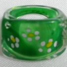 Green lucite ring children ring girl ring US 3