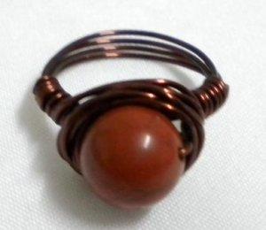 Handmade Woman jewelry wire wrap gemstone red jasper ring US Size 7-3/4