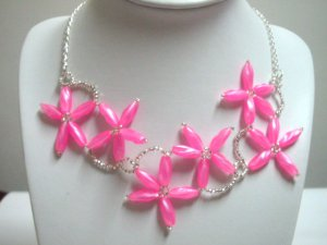 Handmade pink beaded flower bib statement necklace