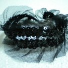 Handmade Gothic Lolita tulle sequin lace stretch choker necklace