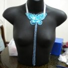 Handmade Lolita lace sequin butterfly long statement necklace