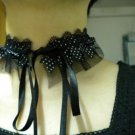 Handmade lolita collar dots black ribbon lace choker necklace