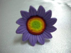 Wire wrap daisy purple flower ring US size 5-3/4