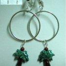 Huge silver hoop ceramic green tree clip on earring