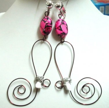 Handmade wire wrap turquoise dangle clip on earring