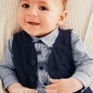 NWT NEXT Baby boy infant long sleeve button shirt & vest 0-3 month 2 pcs set