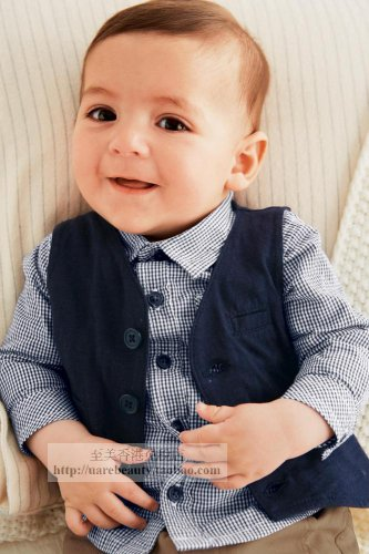 NWT NEXT Baby boy infant long sleeve button shirt & vest 0-3 month 2 pcs set