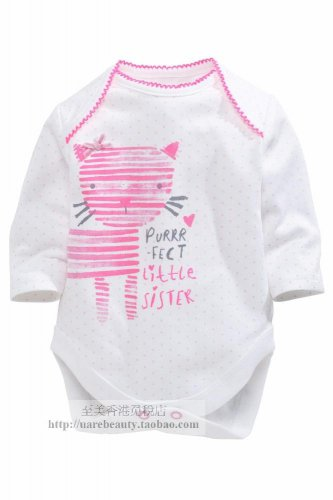 NEW NEXT Baby girl infant cat print long sleeve bodysuit 9-12 months