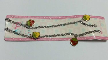 Metal  strawberry charms dangle chain bracelet 18.5 cm 2 pcs set