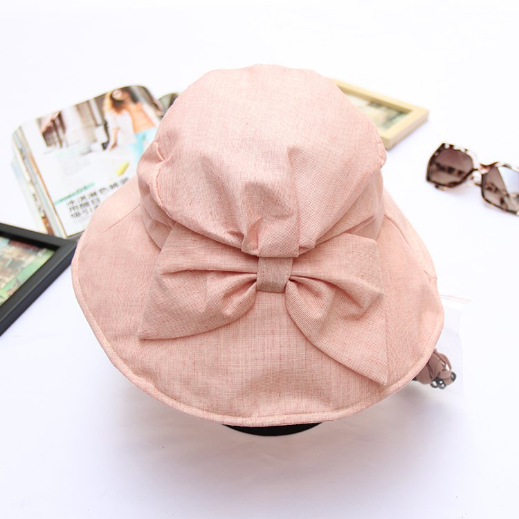 PINK Wide Brim Summer Sun Flap Bill Cap Cotton Hat Neck Cover  For Women