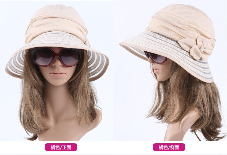 ORANGE Wide Brim Summer Sun Protection Hat Neck Cover For Women