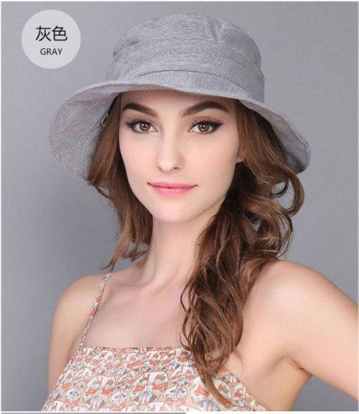 Grey Woman Summer Sun protection anti UV fishing fisherman hat