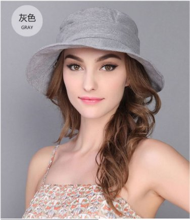 Grey Woman Summer Sun protection anti UV fishing fisherman hat