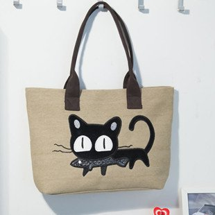 Women Large Capacity Canvas Tote Bag With Cartoon Cute Cats eat fish