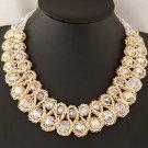 Women Fashion Charm Chunky Crystal Statement Bib Chain Crusader Cross Necklace Jewelry