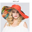 Orange Woman Double side Wide Brim anti UV Outdoor protective sun hat