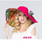 Rose Red Woman Double side Wide Brim anti UV Outdoor protective sun hat