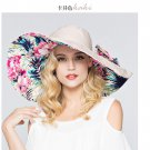 BEIGE Woman Double side Wide Brim anti UV Outdoor protective sun hat