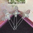 Fashion Wedding Bridal silver butterfly crystal hairpin 3pcs