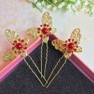 Fashion Wedding Bridal golden butterfly crystal hairpin 3pcs