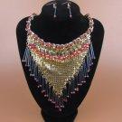 Wedding Chunky Crystal Statement Bib Bohemia Necklace+Earring Set