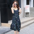 Woman summer floral strappy double frill dress