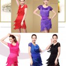 Woman latin tassel dance top + skirt SET