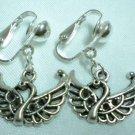 Girl jewelry swan charm clip on earring