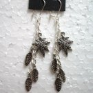Girl jewelry leaf charm dangle earring