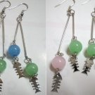 "Girl jewelry glass fish bone long dangle pierced earring 3-3/4"" 9.5cm"