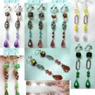 Handmade glass teardrop dangle clip on earring