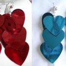 Sequin heart dangle clip on earring