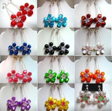 Handmade rose flower dangle earring