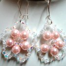 Handmade Bride crystal rose flower dangle earring for woman