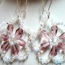 Handmade crystal rose flower dangle earring