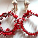 Handmade coral chips earring