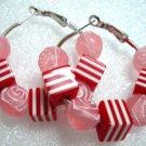 Rose beads in hoop earring