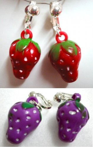 Fruit strawberry girl clip on earring
