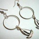 Girl jewelry boat charm circle hoop earring