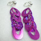 Oval sequin dangle clip on earring