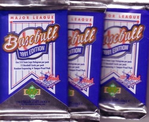 3 new 1991 UPPER DECK baseball FOIL PACK sealed