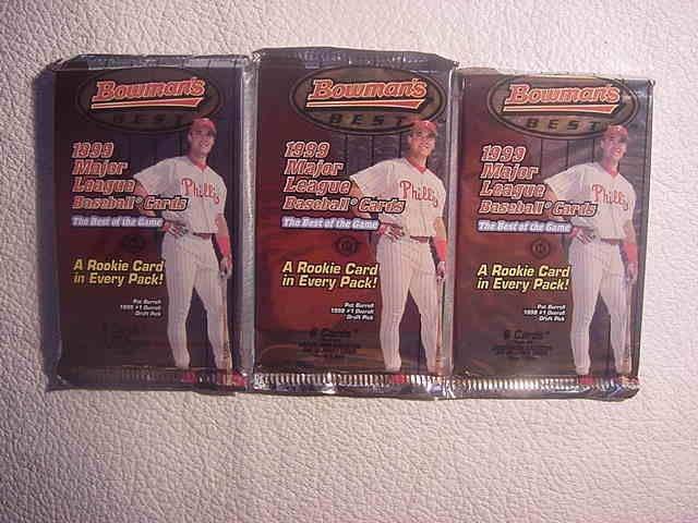 3 new 1999 BOWMANS BEST baseball HOBBY PACKs - three new sealed
