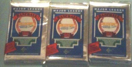 three (3) new 1989 UPPER DECK baseball FOIL PACKS sealed - new