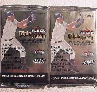 2001 FLEER TRIPLE CROWN baseball HOBBY PACK - 2 packs sealed