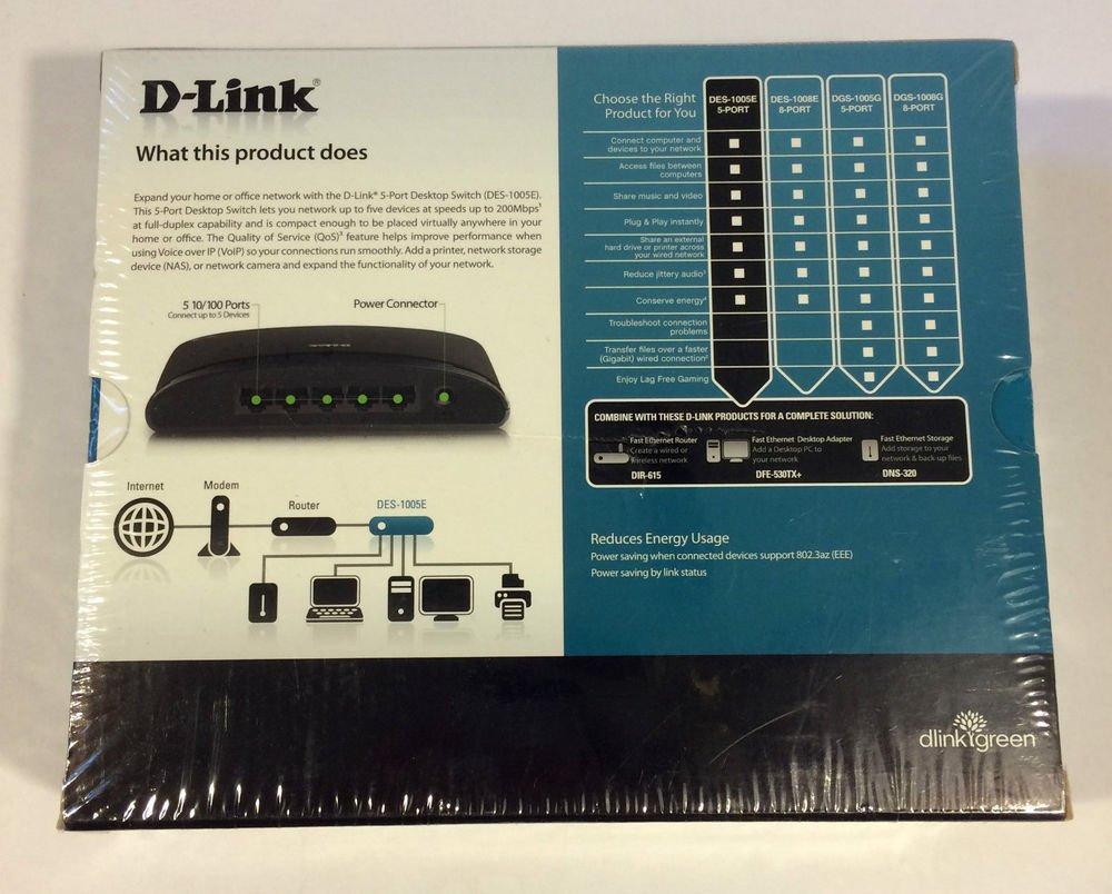D Link DES 1005E dlink green 5 10/100 port FAST ethernet switch multi networking