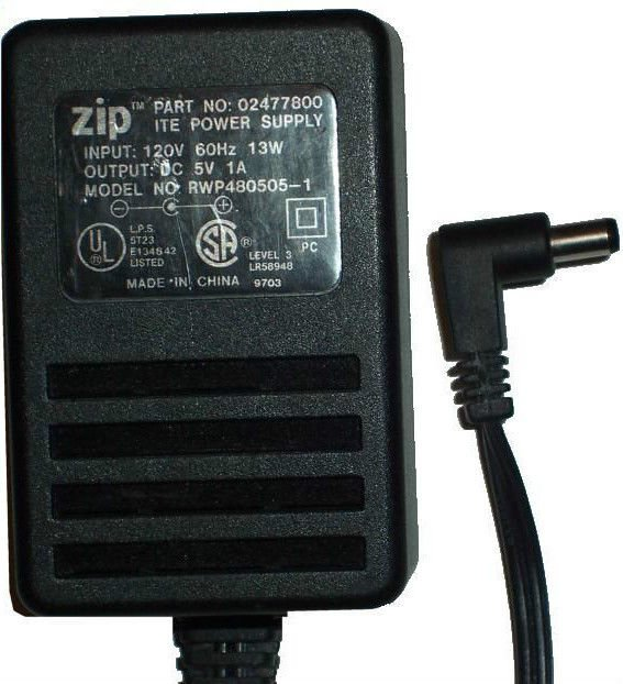 5v 1A 5 volt power supply RWP480505-1 ZIP IOMEGA 02477800 SG 511 ac plug VAC ITE