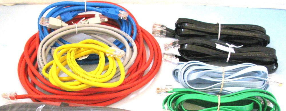 25 standard (4ft+) internet modem plug computer cords cables bunch router wires