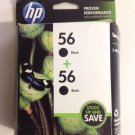 56 twin pack BLACK ink jet HP DeskJet 9680 9670 9650 5850 5650 5550 5150 printer