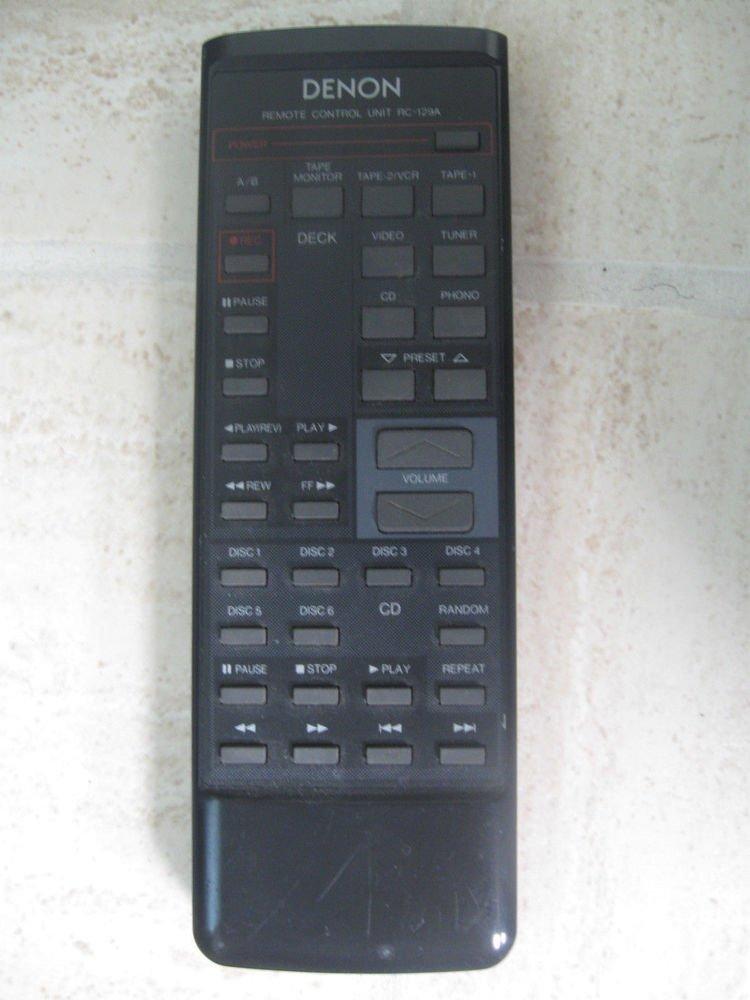 Denon RC 129 Remote Control - DRA 335R 435R 345R cd VCR video phone disc player