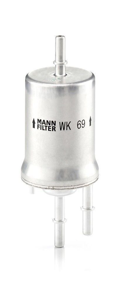 Fuel Filter MANN WK69 in line gas car engine tank part number model w/tube plugs